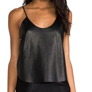 Mason Tops - Mason Black Crop Leather Tank